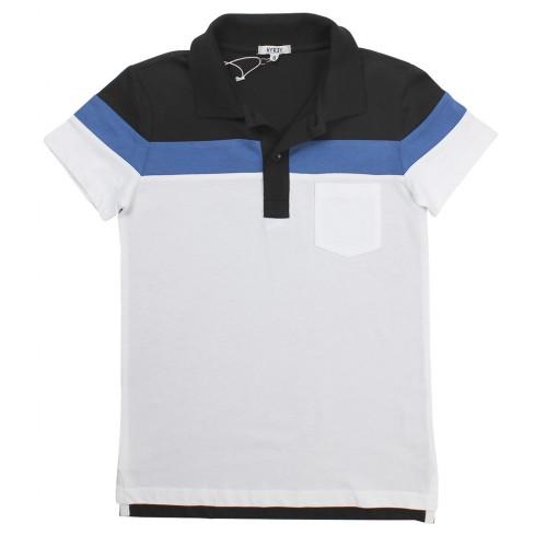 1971323a7565 Κοντομάνικη Μπλούζα Polo Άσπρο - Μαύρο Aygey KJJS7171PO Αγόρι Αγόρι