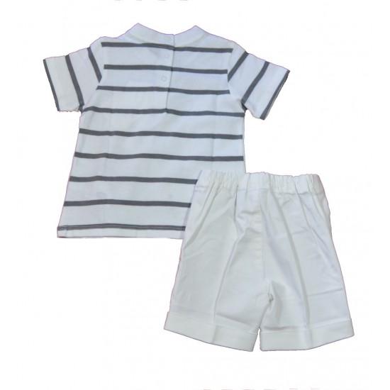 Βρεφικό Σετ Μπλούζα & Βερμούδα Άσπρο - Γκρι Chicco 76455 Αγόρι
