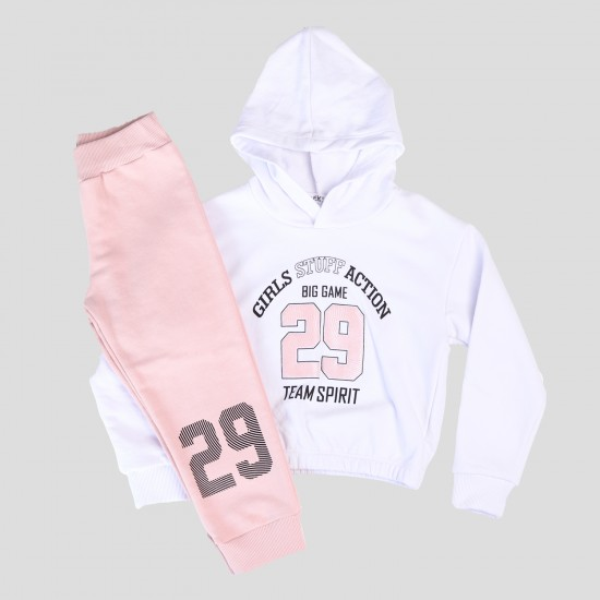 Σετ Φόρμας Μακρυμάνικη Μπλούζα & Φόρμα Άσπρο& Σομόν 132421 Nek Κορίτσι