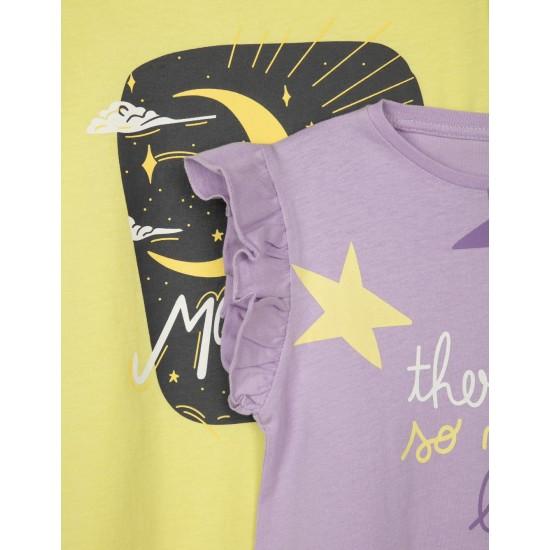 Σετ 2 Κοντομάνικα T-Shirt Μωβ & Πράσινο Zippy ZG0304-487-21 Κορίτσι