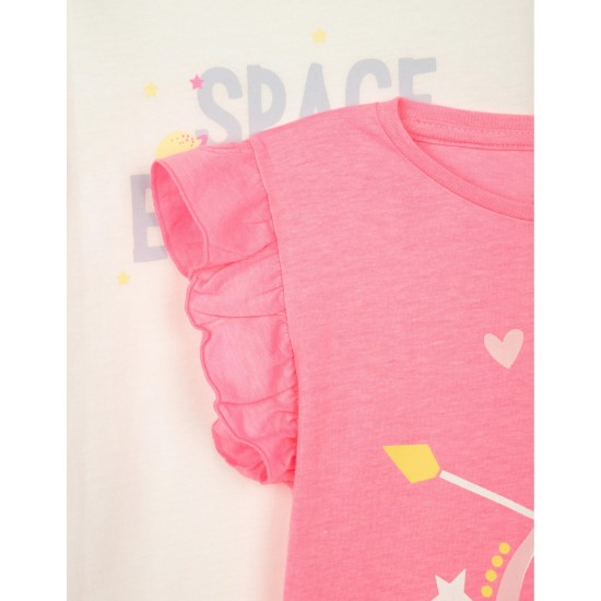 Σετ 2 Κοντομάνικα T-Shirt Άσπρο & Φούξια Zippy ZG0304-487-21 Κορίτσι