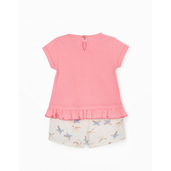 Βρεφικό Σετ Κοντομάνικο T-Shirt & Σορτς Ροζ - Άσπρο Zippy ZTG0601-487-07 Κορίτσι