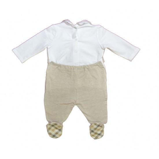 Βρεφικό Μακρυμάνικο Φορμάκι Άσπρο& Μπεζ Chicco 2082 Αγόρι