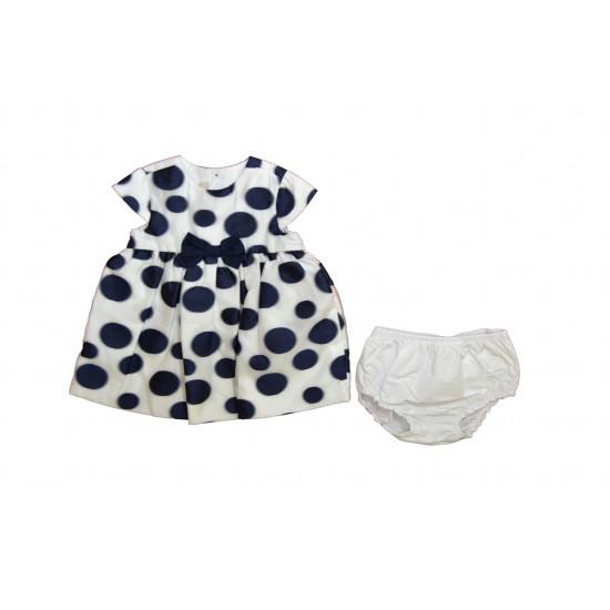Βρεφικό Κοντομάνικο Φόρεμα& Εσώρουχο  Άσπρο- Μπλε Chicco 3827 Κορίτσι