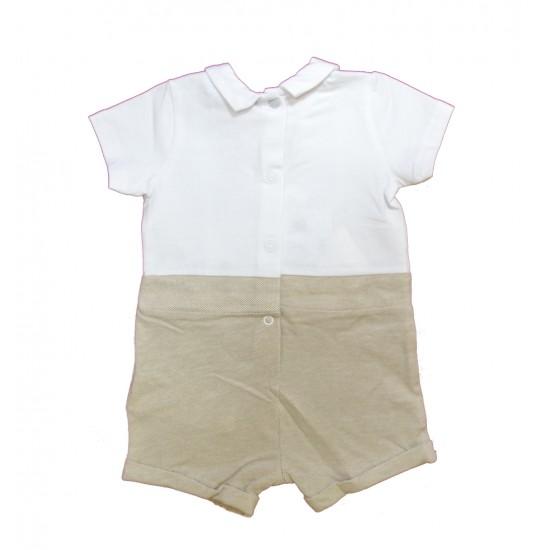 Βρεφικό Κοντομάνικο Φορμάκι Άσπρο& Μπεζ Chicco 50857 Αγόρι